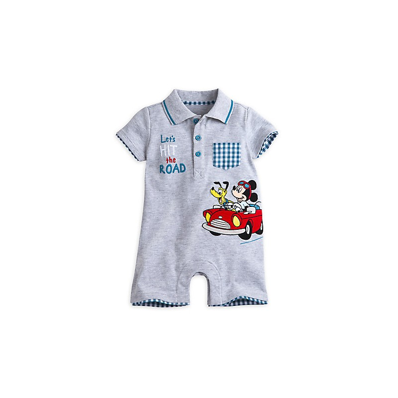 nueva temporada colección de descuento profesional de venta caliente DisneyStore enterizo tipo mameluco 100% algodón de Mickey Mouse y Pluto  para el bebé niño de 12 a 18 meses