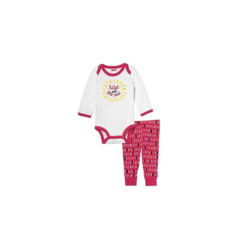 b31ee183 Skip Hop Pack 2 piezas 100% algodón enterizo manga larga tipo bodysuit +  pantalón para niña de 6 a 9 meses