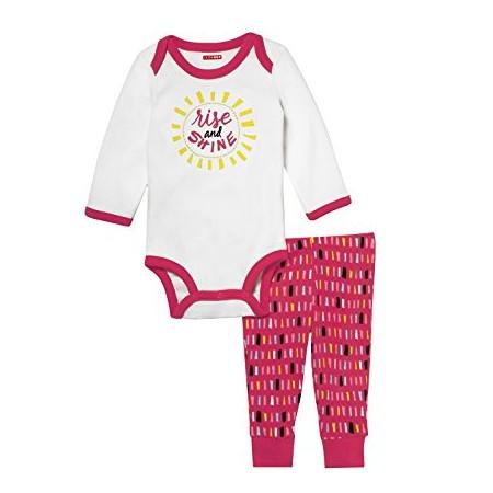 Skip Hop Pack 2 piezas 100% algodón enterizo manga larga tipo bodysuit + pantalón para niña de 6 a 9 meses