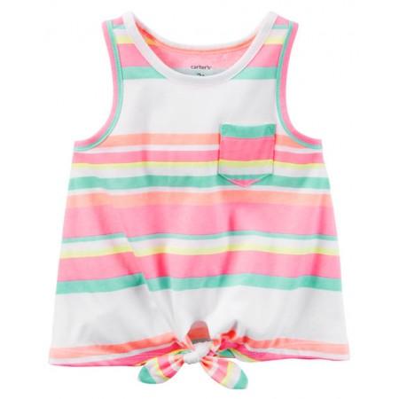 Carters camiseta sin mangas diseño anudado por delante (front-tie) con rayas de neón 100% algodón para niñas de 3 años