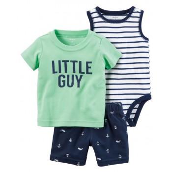 f3d868eda Carters Pack de 3 piezas 100% algodón polo + bibidi + short para bebé niño  de 18 a 24 meses