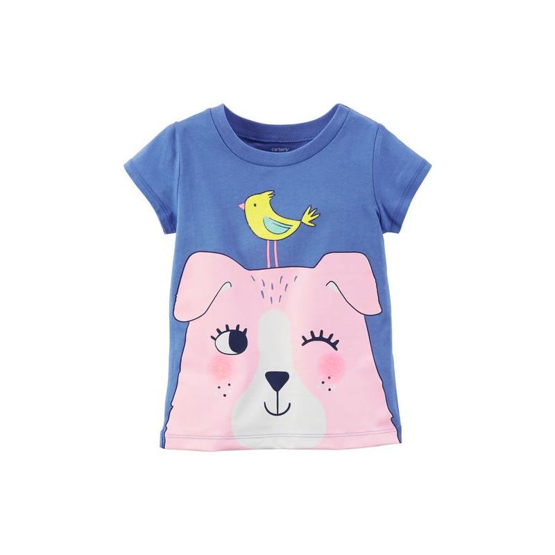 0a579494cb5 Que tu niña se vea siempre linda con esta camiseta de la marca Carters que  lleva estampado un lindo perro rosado.