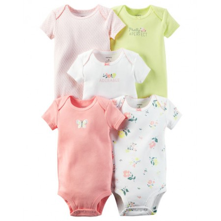 Carters Pack 5 enterizos para bebé niña 100% Algodón de 6 a 9 meses