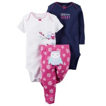 5bf33cc3b Pack Carter's de 3 piezas 2 enterizos + pantalón gráfico buho modelo Little  Character para bebés niñas de 18 a 24 meses