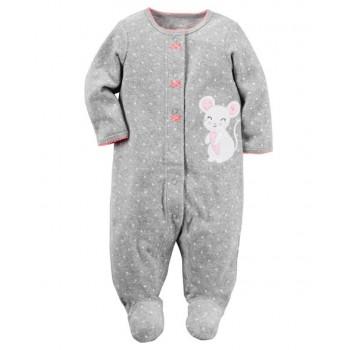359957dff Carter s Pijama footies de felpa modelo Sleep   Play color gris para bebé  niña 9 a 12 meses
