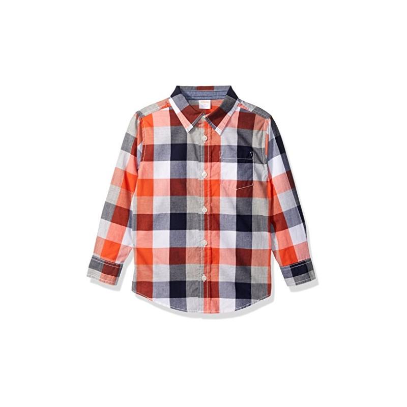 46091cfcc Que tu niño se vea elegante y guapo con esta cómoda camisa 100% algodón a  cuadros naranja y azul marino Gymboree